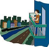 Balcony clip art vector graphics 603 balcony eps clipart for Balcony cartoon