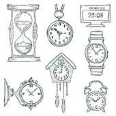 Armbanduhr gezeichnet  Clip Art - hand, gezeichnet, skizze, satz, von, uhren, und, uhren ...