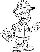 Clipart - karikatur, forscher, in, a, kochen topfes ...