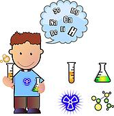 student with science lab materials