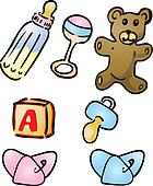 Clipart of Baby items illustrations k0992101 - Search Clip Art ...