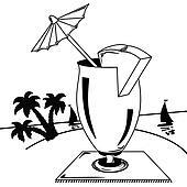 Strand clipart schwarz weiß  Clipart - schwarz weiß, tropische landschaft k21971705 - Suche ...