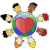 multicultural kid faces united around earth globe Culture Diversity Clip Art Workplace Diversity Clip Art