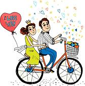 Couples Riding Tandem Bicycles