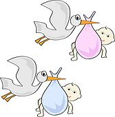 Clip Art of Flying Stork with Baby Boy k4979332 - Search Clipart ...