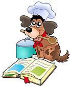 Dessin animé, chien, chef cuistot, à, recette, livre