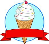 Clip Art of Ice Cream Cone Circle Banner k20735976 ...