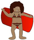 ethnic girl drying off with Drying Off Clipart