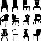 Stühle clipart  Clip Art - satz, von, antiker, stühle, silhouetten k6508747 ...