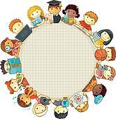 Kinder sitzen im kreis clipart  Clip Art - schule, schablone, mit, kindern k20685999 - Suche ...