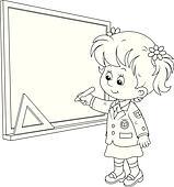 Tafel clipart schwarz weiß  Clipart - schuljunge, schreibt, auf, dass, tafel k19610920 - Suche ...