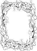 clip art schwarz wei strichzeichnung rahmen mit blatt und schale akzente u18900547. Black Bedroom Furniture Sets. Home Design Ideas