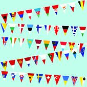 Clipart of World bunting flags on blue sky. Vector illustration ...