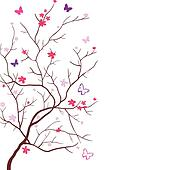 Clip Art of cherry blossom tree silhouette k6350106 - Search ...
