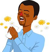 Clip Art of African American Man Suffering Allergy k25125036 ...