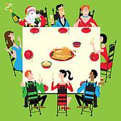 Clipart of Christmas dinner k6788934 - Search Clip Art ...