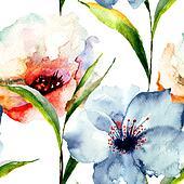 Blumen tapezieren illustrationen und clipart