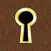 Stock Illustration of Door keyhole of golden metalkeyhole ...