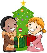 Christmas gift giving clipart free