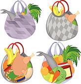 clipart plastique transparent sac provisions entiers de fruits l gumes et f. Black Bedroom Furniture Sets. Home Design Ideas