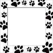 Drawings of animal paws border in black and white k5842764 search clip art illustrations wall - Paw print wall border ...