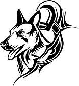 Clipart tatuaggio disegno testa lupo vendemmia for Lupo disegno a matita