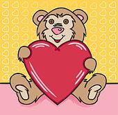 clipart teddyb r mit lieben herz k5360490 suche clip art illustration wandbilder. Black Bedroom Furniture Sets. Home Design Ideas