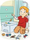 Clip Art - junge, aufräumen, seine, spielzeuge k7783239 ...