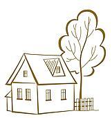 Haus clipart schwarz weiß  Clipart - haus, mit, a, baum, piktogramm k6831291 - Suche Clip Art ...