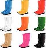 Clip Art of Colored rubber boots vector set k7075159 ... - photo #23