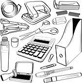 Büromaterial clipart  Clipart - büro, schreibwaren, werkzeug, gekritzel k7486751 - Suche ...