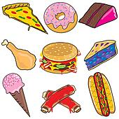 Clipart of Junk Food Explosion! k7554130 - Search Clip Art ...