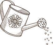 剪贴画 - 喷壶, 带, flowers.图片