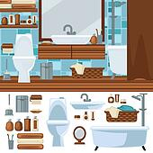Bathroom Interior Design. Accessories And Furniture Set.