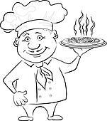 Clipart - koch, hält, a, heiße, pizza, kontur k9315265 - Suche ...   {Koch bei der arbeit clipart 39}
