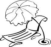 Strand clipart schwarz weiß  Clip Art - schwarz weiß, kontur, schirmchen, und, strandliege ...