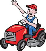 Clip Art Of Gardener Mowing Rideon Lawn Mower Cartoon