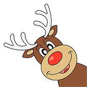 clip art of vector red nosed reindeer holding blank paper. Black Bedroom Furniture Sets. Home Design Ideas