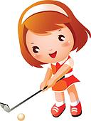 Clipart of Illustration of young boy(kid) holding club ... Kid Golfer Clipart