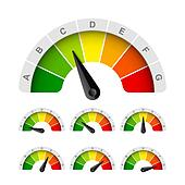 Clipart of Low, moderate, high - rating meter k16095264 ...