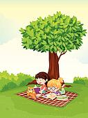 Clipart of Boy Reading k1406401 - Search Clip Art ...