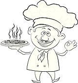 Clipart - koch, hält, a, heiße, pizza, kontur k9315265 - Suche ...   {Koch bei der arbeit clipart 33}