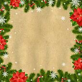 Clipart of christmas poinsettia k10686115 search clip for Poinsettia christmas tree frame