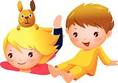 Available as a PRINT Kids Relaxing Clipart