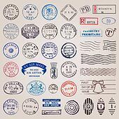 Clip Art of Vintage postage stamps vector set k12099127 - Search ...