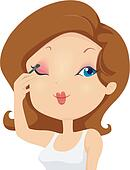 Girl Putting On Makeup Clipart Available as a PRINT