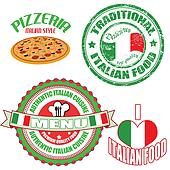 Clipart of Set of authentic italian food stamp and labels ...