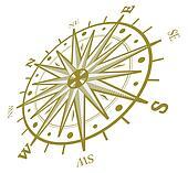 Vind, rose, kompas, isoleret, hvid