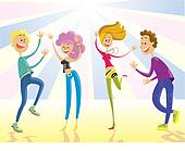clip art of happy young people dancing at the party vector
