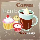 Clipart of Retro Cupcake Poster k13531503 - Search Clip ...